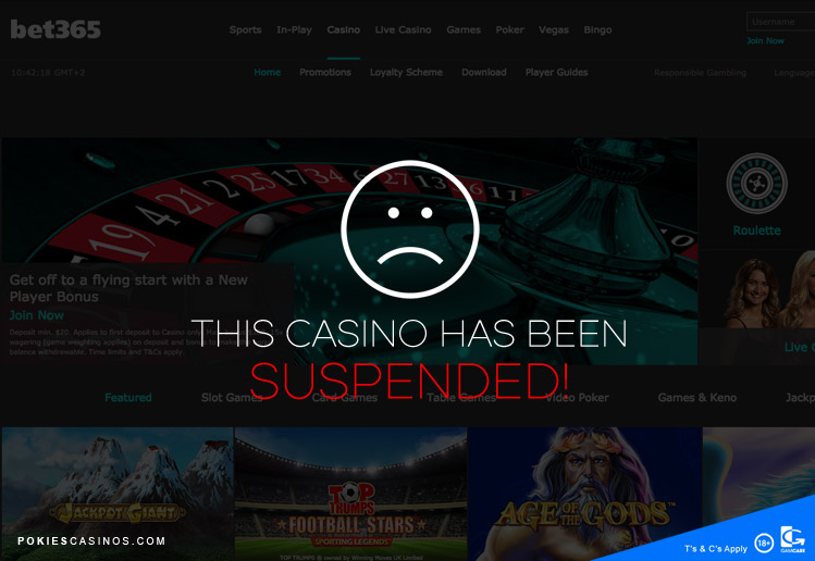bet365 casino suspended