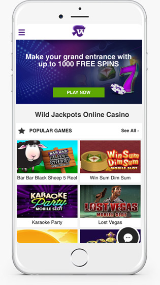 Wild Jackpots mobile play