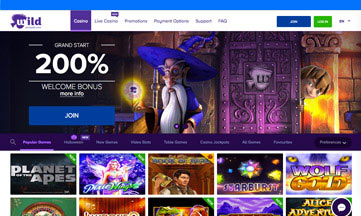 Wild Jackpots website