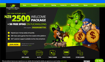 Raging Bull casino website