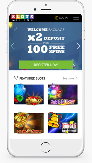 Slots Million Mobile website