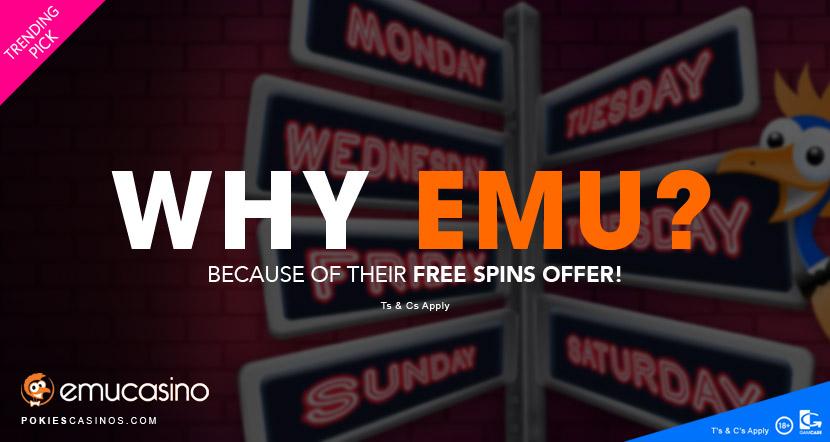 emu casino free spins bonus offer
