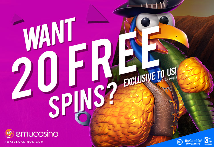 20 free exclusive spins from emu casino