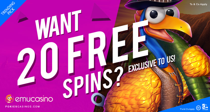 emu casino offering 20 free spins on eddy dundee slots